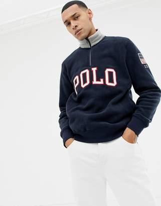 Polo Ralph Lauren half zip polar sweatshirt with logo applique in navy