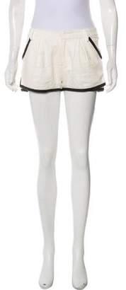 Marissa Webb Leather-Trimmed Tweed Shorts