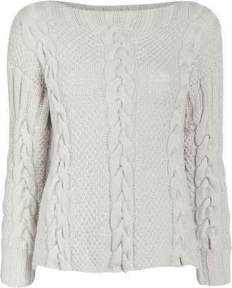 Hania New York Tri-Cable Cashmere Sweater with Crew Neck