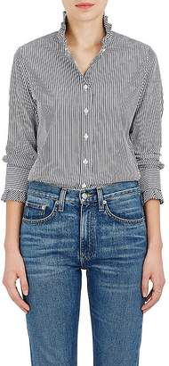 Barneys New York Women's Striped Cotton Poplin Ruffle Top