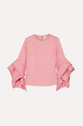 Roksanda Ruffled Cotton-poplin Top - Pink