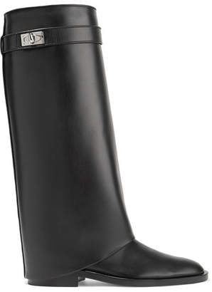 Shark Lock Leather Knee Boots - Black