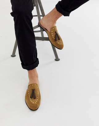 BEIGE House Of Hounds Helios slip on loafers in suede
