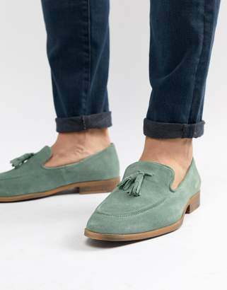 Asos Design DESIGN loafers in green suede with natural sole