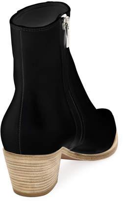 Gianvito Rossi Napa Leather Stack-Heel Bootie