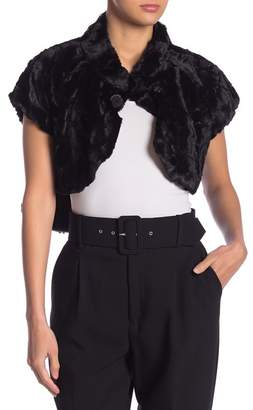 Nanette Lepore NANETTE Short Sleeve Hi-Lo Faux Fur Vest