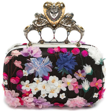 Alexander McQueenAlexander McQueen Flocked Floral Hearth Box Clutch Bag