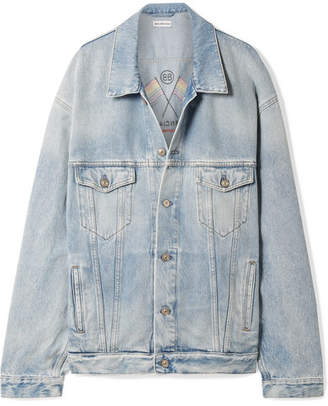 Balenciaga Oversized Embroidered Denim Jacket - Blue