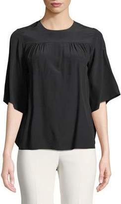 Chloé Short-Sleeve Cape-Back Crepe de Chine Blouse