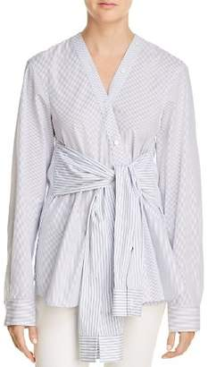 Alexander Wang Tie-Waist Striped Shirt