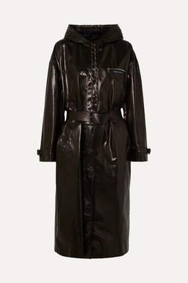 Prada - Hooded Patent-leather Trench Coat - Black