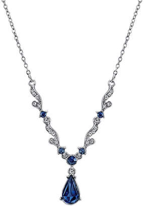 """Downton Abbey Silver-Tone Blue Crystal French Scroll Linked Necklace 16"""" Adjustable"""