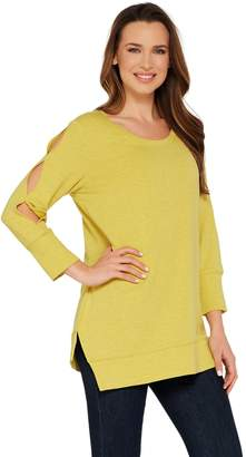 Halston H By H by Scoop Neck French Terry Tunic w/ Sleeve Detail