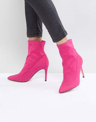 Faith Bow Hot Pink Suede Sock Boots
