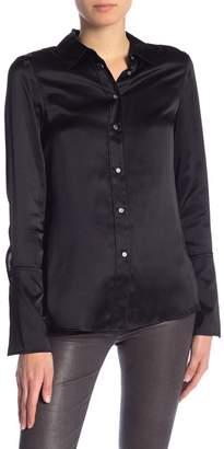 Frame Cuffed Silk Button Down Shirt