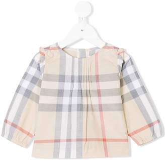Burberry Pintuck Detail Check Cotton Top
