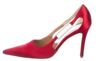 Valentino Satin Pointed-Toe Pumps