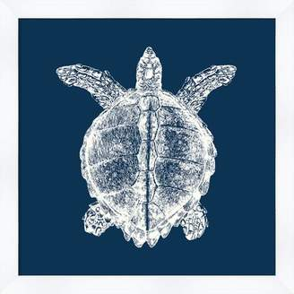 Melissa Van Hise 'Turtle in Blue Reverse' Framed Graphic Art Print