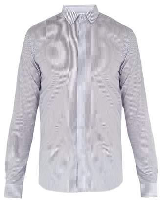 Valentino Convertible Cuff Striped Cotton Blend Shirt - Mens - White Multi