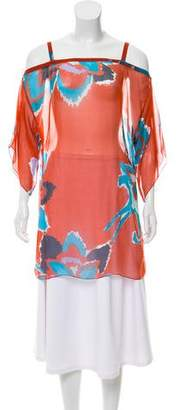 Tibi Printed Cold- Shoulder Top