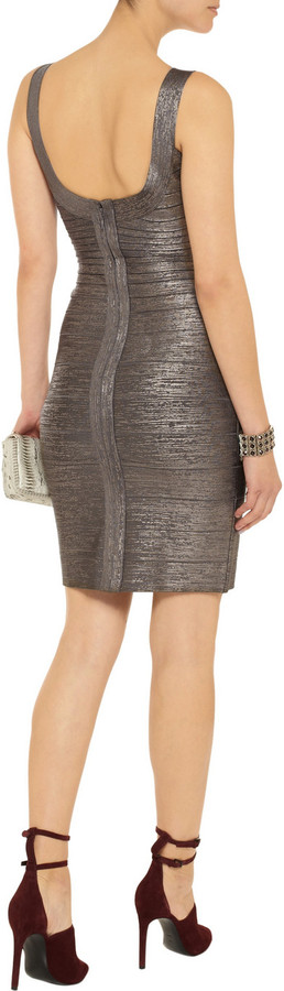 Herve Leger Metallic coated bandage dress
