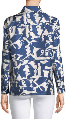 Double J Button-Down Long-Sleeve Printed Silk Boy Shirt
