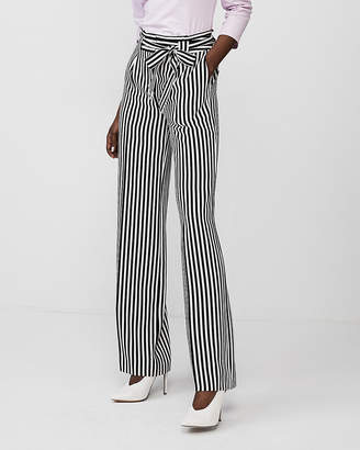 Express Striped High Waisted Sash Tie Wide Leg Pant