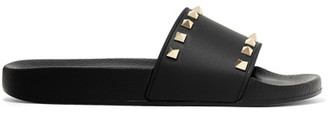 Valentino - The Rockstud Faux Leather Slides - Black $325 thestylecure.com