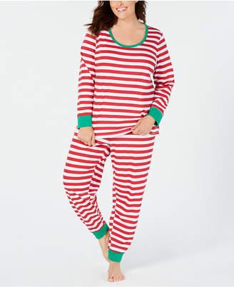 Matching Family Pajamas Plus Size Women Holiday Stripe Pajama Set