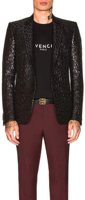 Givenchy Leopard Poly Lurex Jacket in Black | FWRD
