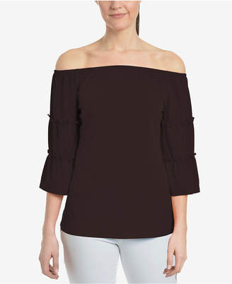 NY Collection Off-The-Shoulder Ruffle-Sleeve Top