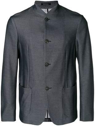 Emporio Armani textured mandarin-collar jacket