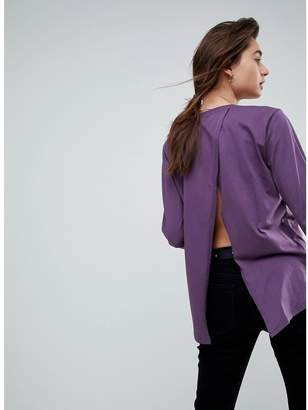 Asos Design Split Back Top with Long Sleeves