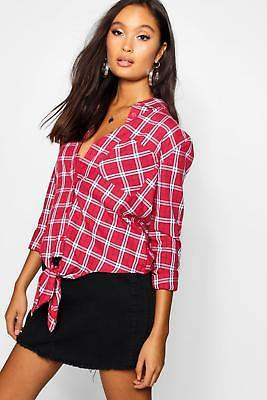 boohoo NEW Womens Tie Front Check Shirt in Cotton