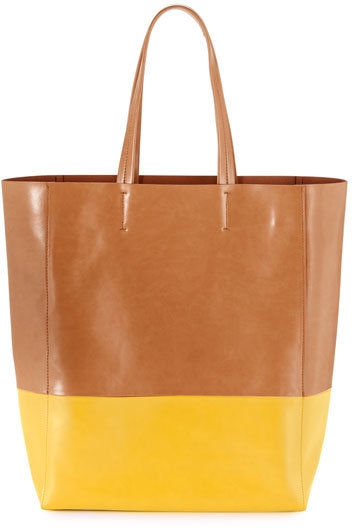 Neiman Marcus Colorblock Tote Bag, Yellow
