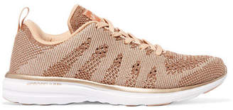 APL Athletic Propulsion Labs Techloom Pro Metallic Mesh Sneakers - Rose gold