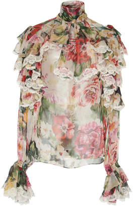 Dolce & Gabbana Ruffled Lace-Trimmed Floral Silk-Georgette Blouse