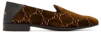 Gucci Gallipoli Logo Jacquard Velvet Loafers - Mens - Brown