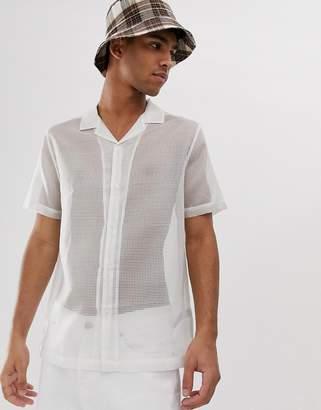 Asos Design DESIGN regular fit sheer white shirt with revere collar