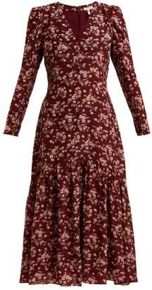 Rebecca Taylor Tilda Floral Print Silk Midi Dress - Womens - Burgundy Print