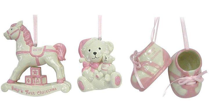 St Nicholas square ® 3-pc. baby girl christmas ornament set