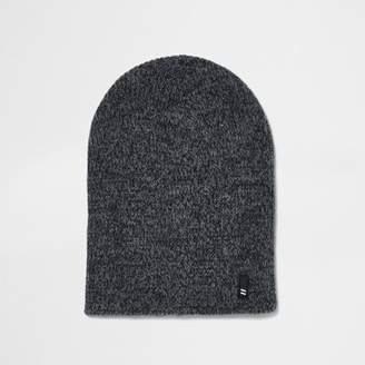 River Island Grey twist knit slouch beanie hat