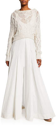 Brunello Cucinelli Pleated Gown with Sequined Sweater