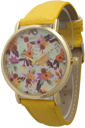 OLIVIA PRATT Olivia Pratt Womens Gold-Tone Multi-Color Floral Print Dial Yellow Leather Strap Watch 14181