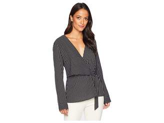 Vince Camuto Long Sleeve Legacy Stripe D-Ring Wrap Front Blouse
