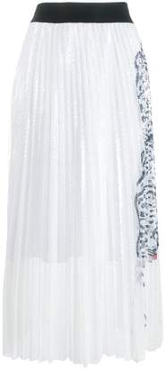 Krizia leopard detail pleated skirt