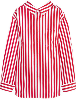 Balenciaga - Oversized Striped Cotton Shirt - Red $855 thestylecure.com