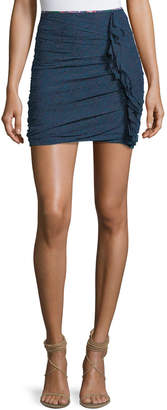 Etoile Isabel Marant Jipson High-Waist Ruched Printed Mini Skirt