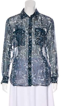 Equipment Animal Print Button-Up Blouse