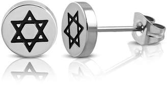 NRG Jewelry Stainless Steel 2-tone Star of David Circle Stud Earrings (pair)